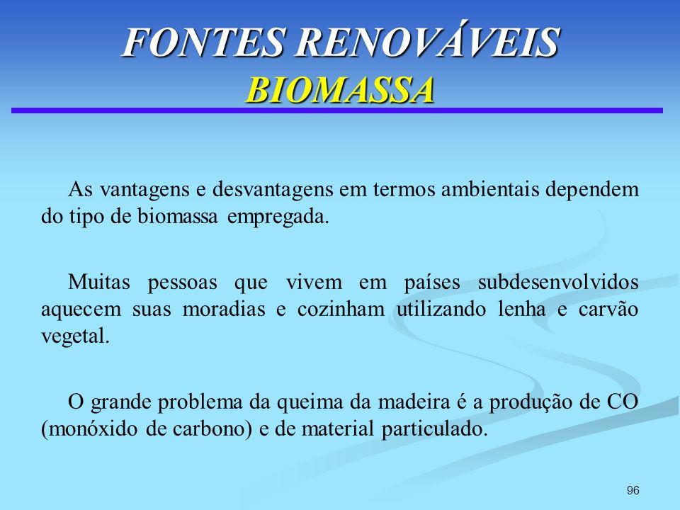 96 FONTES RENOVÁVEIS BIOMASSA As vantagens e desvantagens em termos ambientais dependem do tipo de biomassa empregada. Muitas pessoas que vivem em paí