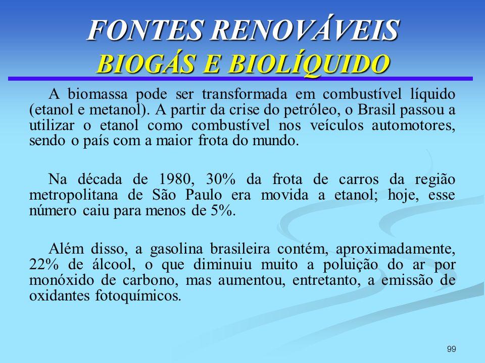 99 FONTES RENOVÁVEIS BIOGÁS E BIOLÍQUIDO A biomassa pode ser transformada em combustível líquido (etanol e metanol). A partir da crise do petróleo, o