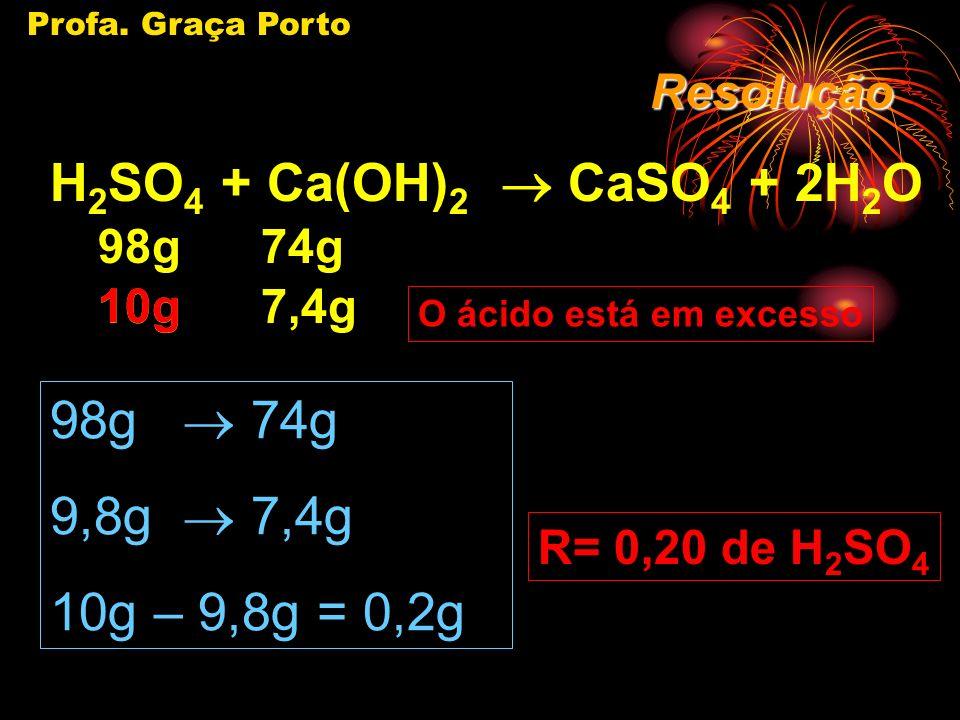 Profa. Graça Porto Se existe reagente em excesso, o excesso não pode ser levado em conta para o cálculo da massa pedida.