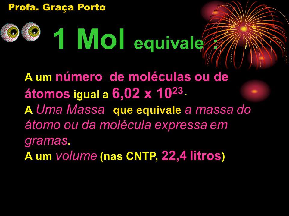 Profa.Graça Porto 1 Mol equivale : A um número de moléculas ou de átomos igual a 6,02 x 10 23.