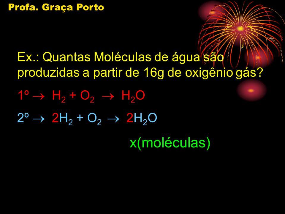 Profa.Graça Porto Ex.: Quantas Moléculas de água são produzidas a partir de 16g de oxigênio gás.
