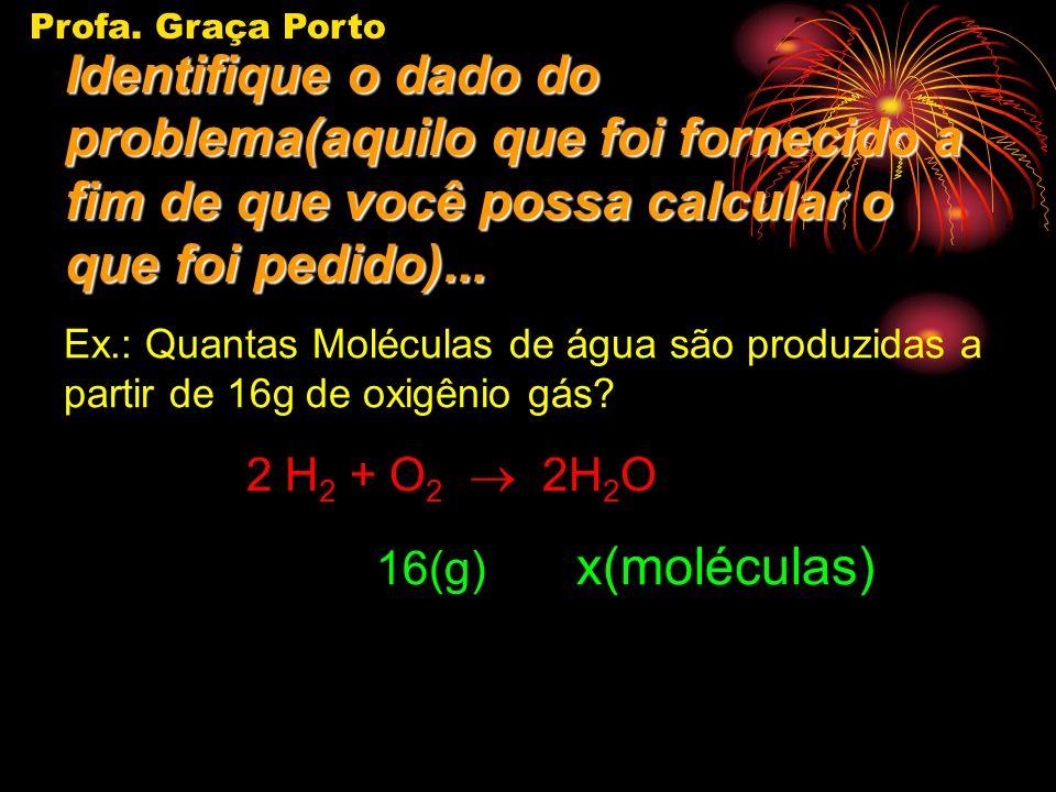 Profa. Graça Porto Ex.: Quantas Moléculas de água são produzidas a partir de 16g de oxigênio gás? 1º H 2 + O 2 H 2 O 2º 2H 2 + O 2 2H 2 O x(moléculas)
