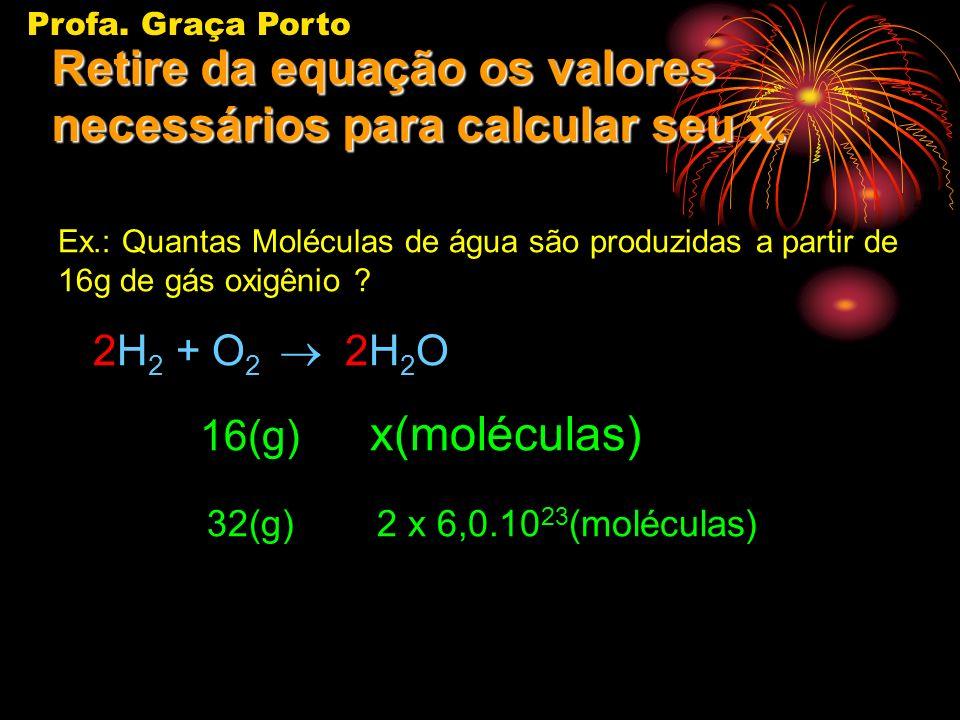 Profa. Graça Porto Identifique o dado do problema(aquilo que foi fornecido a fim de que você possa calcular o que foi pedido)... Ex.: Quantas Molécula