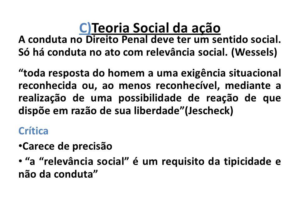 C)Teoria Social da ação A conduta no Direito Penal deve ter um sentido social. Só há conduta no ato com relevância social. (Wessels) toda resposta do