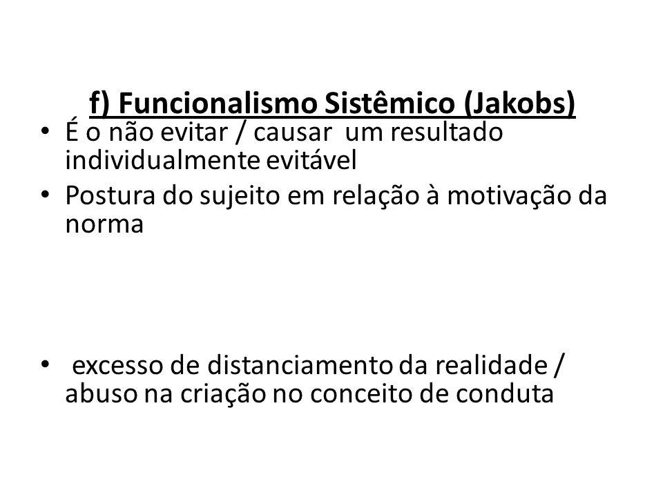f) Funcionalismo Sistêmico (Jakobs) É o não evitar / causar um resultado individualmente evitável Postura do sujeito em relação à motivação da norma C