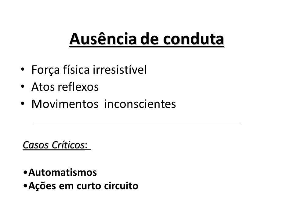 Ausência de conduta Força física irresistível Atos reflexos Movimentos inconscientes Casos Críticos Casos Críticos: Automatismos Ações em curto circui