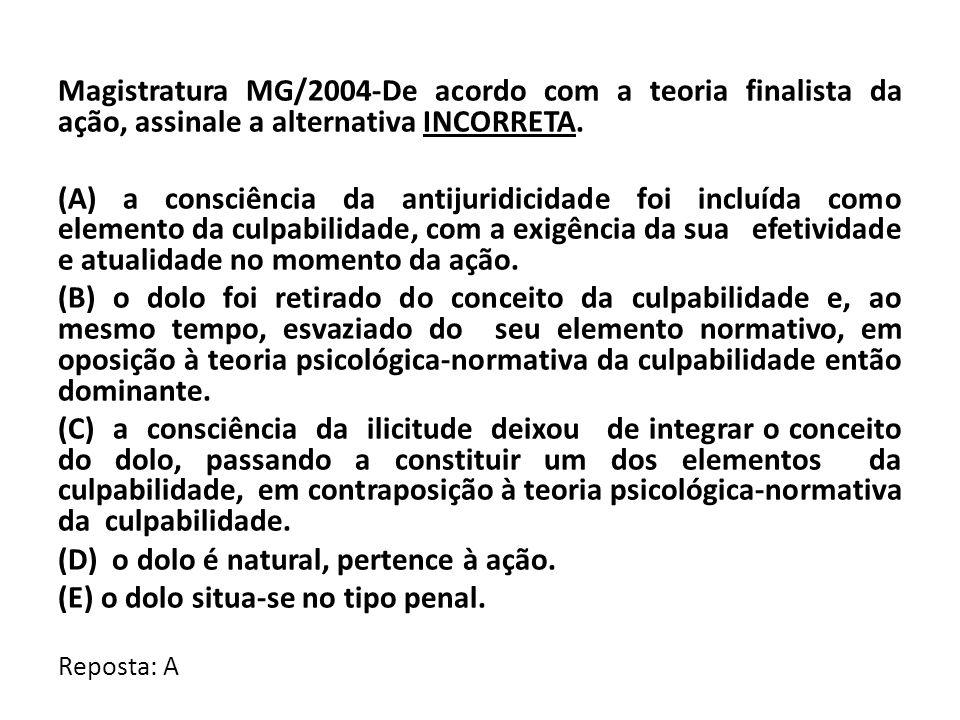 Magistratura MG/2004-De acordo com a teoria finalista da ação, assinale a alternativa INCORRETA. (A) a consciência da antijuridicidade foi incluída co