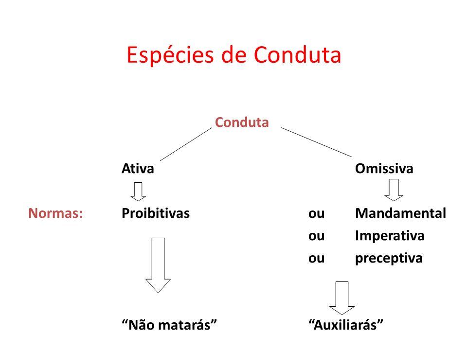 Espécies de Conduta Conduta AtivaOmissiva Normas:ProibitivasouMandamental ou Imperativa ou preceptiva Não matarásAuxiliarás