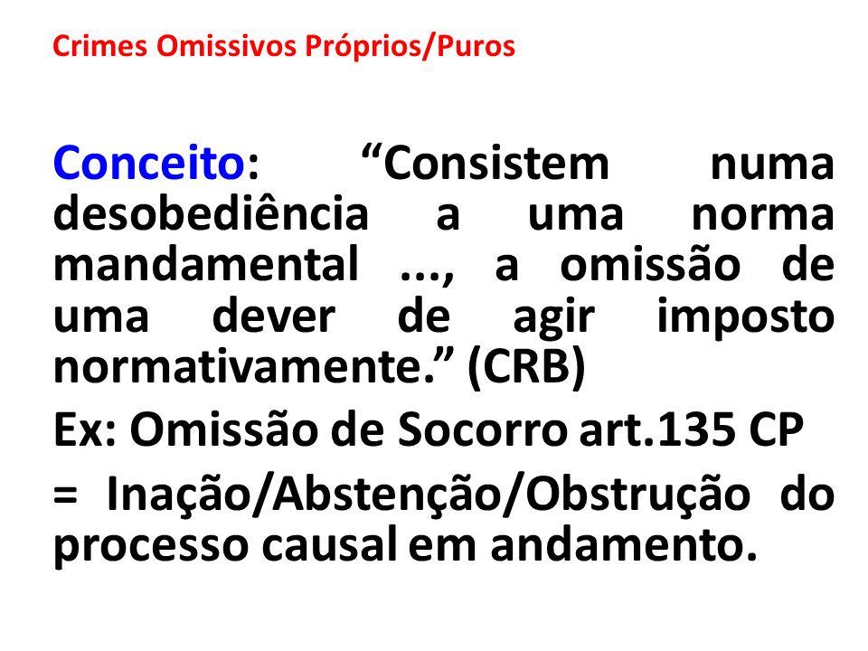 Crimes Omissivos Próprios/Puros Conceito: Consistem numa desobediência a uma norma mandamental..., a omissão de uma dever de agir imposto normativamen