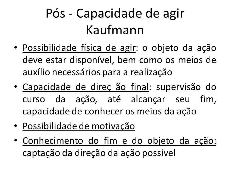 Pós - Capacidade de agir Kaufmann Possibilidade física de agir: o objeto da ação deve estar disponível, bem como os meios de auxílio necessários para