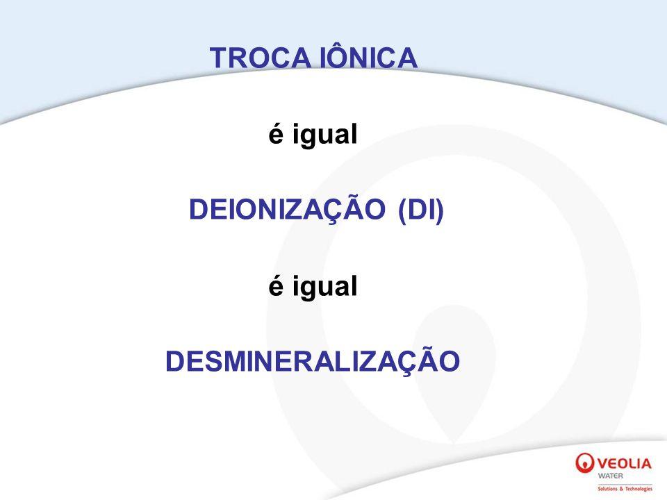 TROCA IÔNICA é igual DEIONIZAÇÃO (DI) é igual DESMINERALIZAÇÃO