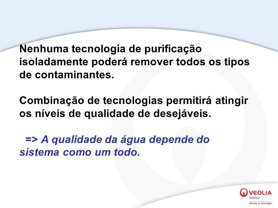 Nenhuma tecnologia de purificação isoladamente poderá remover todos os tipos de contaminantes. Combinação de tecnologias permitirá atingir os níveis d