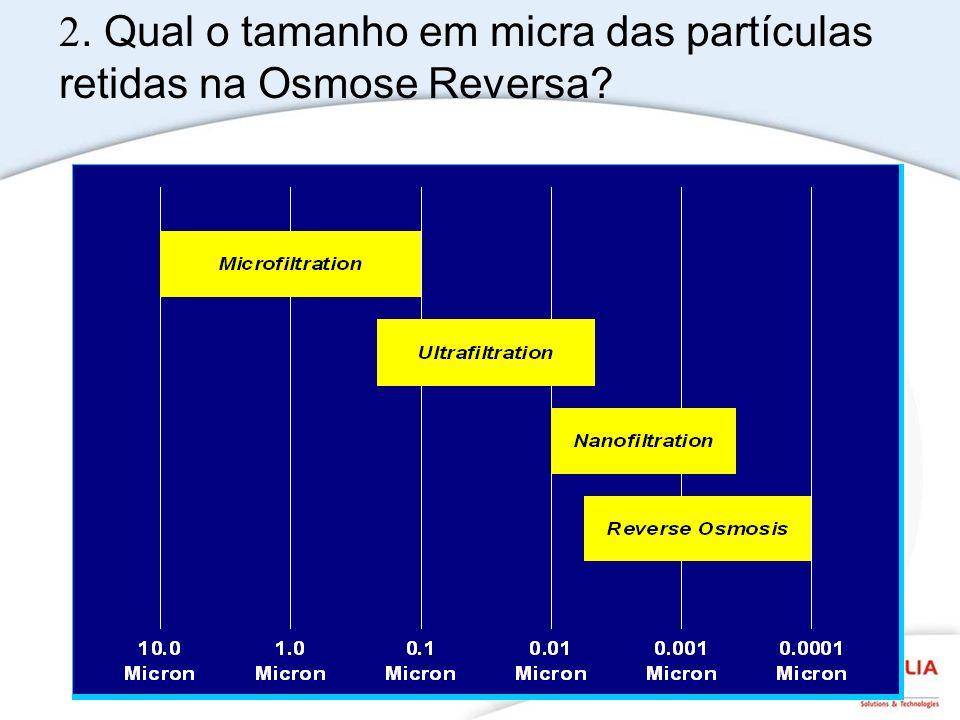 2. Qual o tamanho em micra das partículas retidas na Osmose Reversa?