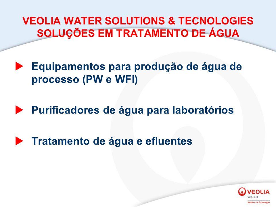 VEOLIA WATER SOLUTIONS & TECNOLOGIES SOLUÇÕES EM TRATAMENTO DE ÁGUA Equipamentos para produção de água de processo (PW e WFI) Purificadores de água para laboratórios Tratamento de água e efluentes