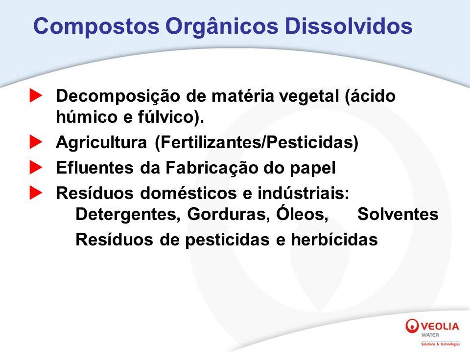 Compostos Orgânicos Dissolvidos Decomposição de matéria vegetal (ácido húmico e fúlvico). Agricultura (Fertilizantes/Pesticidas) Efluentes da Fabricaç