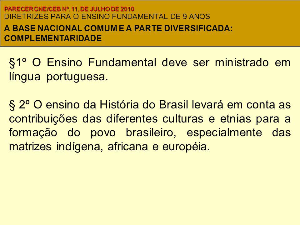 DIRETRIZES PARA O ENSINO FUNDAMENTAL DE 9 ANOS §1º O Ensino Fundamental deve ser ministrado em língua portuguesa..