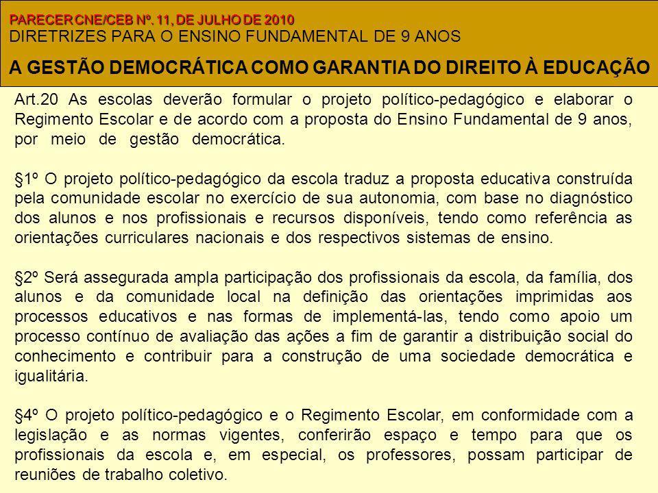 DIRETRIZES PARA O ENSINO FUNDAMENTAL DE 9 ANOS Art.20 As escolas deverão formular o projeto político-pedagógico e elaborar o Regimento Escolar e de acordo com a proposta do Ensino Fundamental de 9 anos, por meio de gestão democrática..