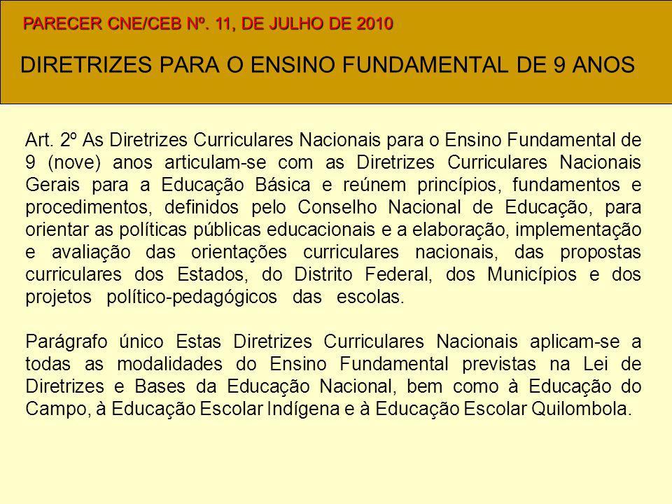 DIRETRIZES PARA O ENSINO FUNDAMENTAL DE 9 ANOS Art.