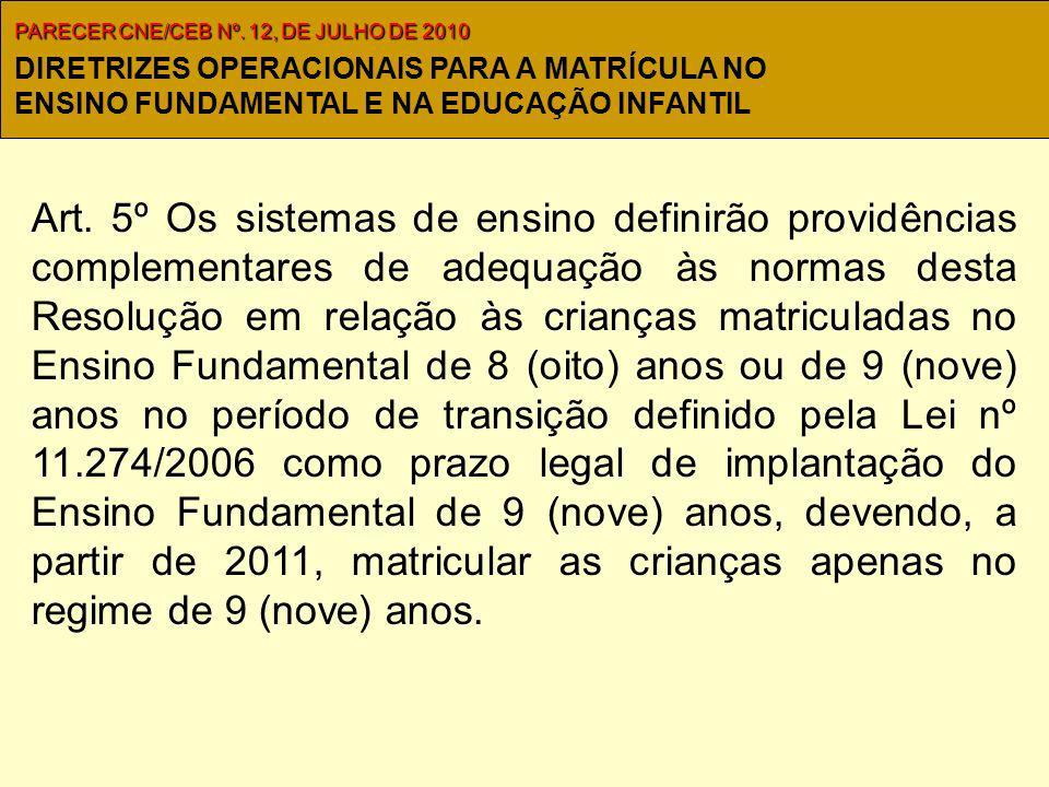 Art. 5º Os sistemas de ensino definirão providências complementares de adequação às normas desta Resolução em relação às crianças matriculadas no Ensi