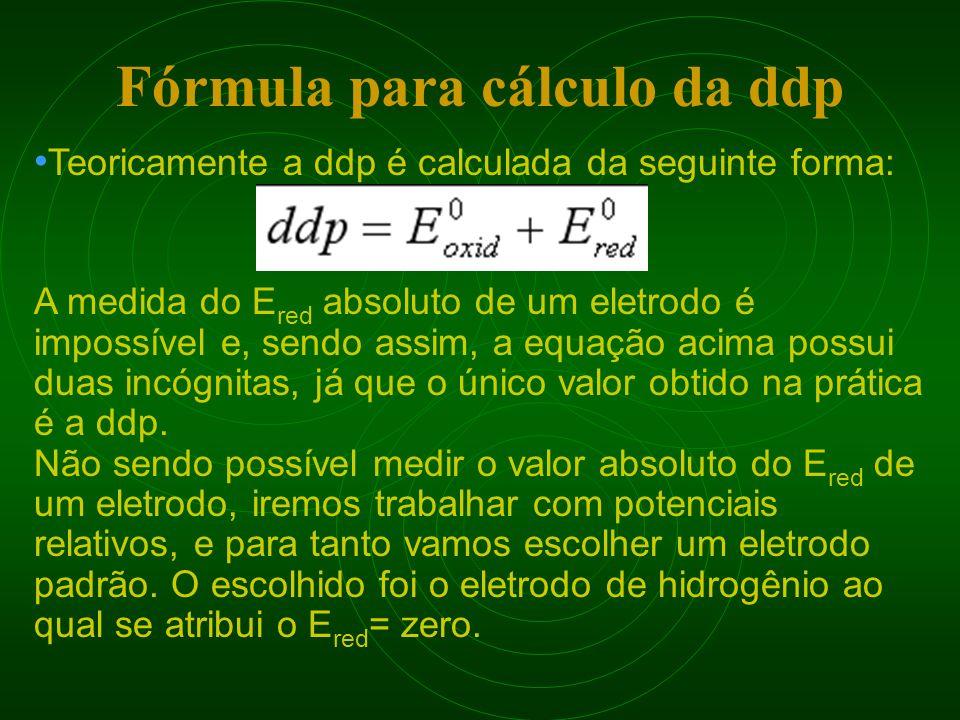 Teoricamente a ddp é calculada da seguinte forma: A medida do E red absoluto de um eletrodo é impossível e, sendo assim, a equação acima possui duas i