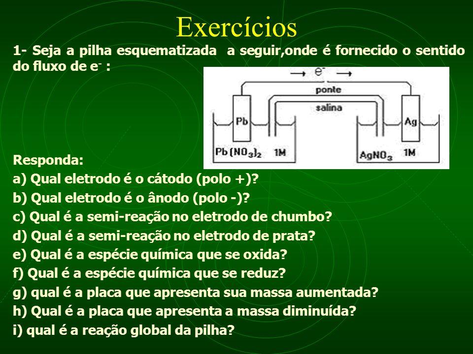 Exercícios 1- Seja a pilha esquematizada a seguir,onde é fornecido o sentido do fluxo de e - : Responda: a) Qual eletrodo é o cátodo (polo +)? b) Qual