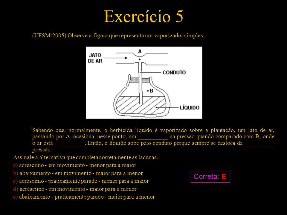 Exercício 5 (UFSM/2005) Observe a figura que representa um vaporizador simples. Sabendo que, normalmente, o herbicida líquido é vaporizado sobre a pla