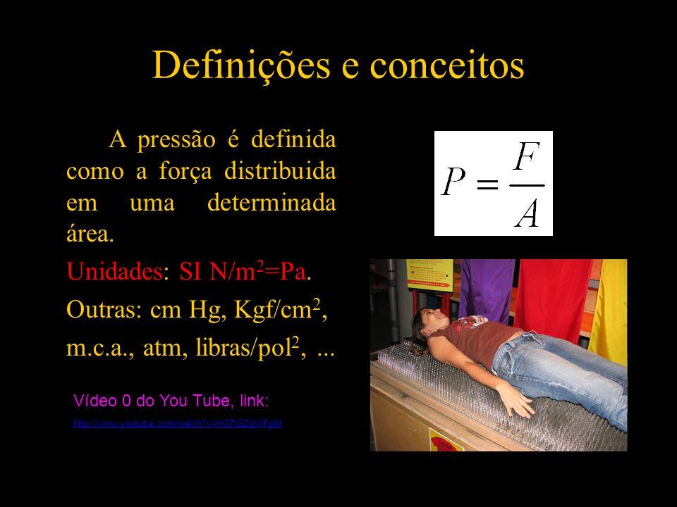 Definições e conceitos A pressão é definida como a força distribuida em uma determinada área. Unidades: SI N/m 2 =Pa. Outras: cm Hg, Kgf/cm 2, m.c.a.,