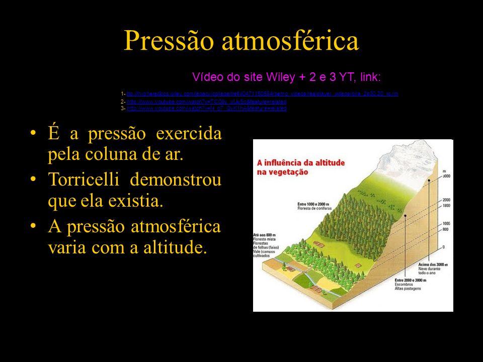 Pressão atmosférica É a pressão exercida pela coluna de ar. Torricelli demonstrou que ela existia. A pressão atmosférica varia com a altitude. Vídeo d
