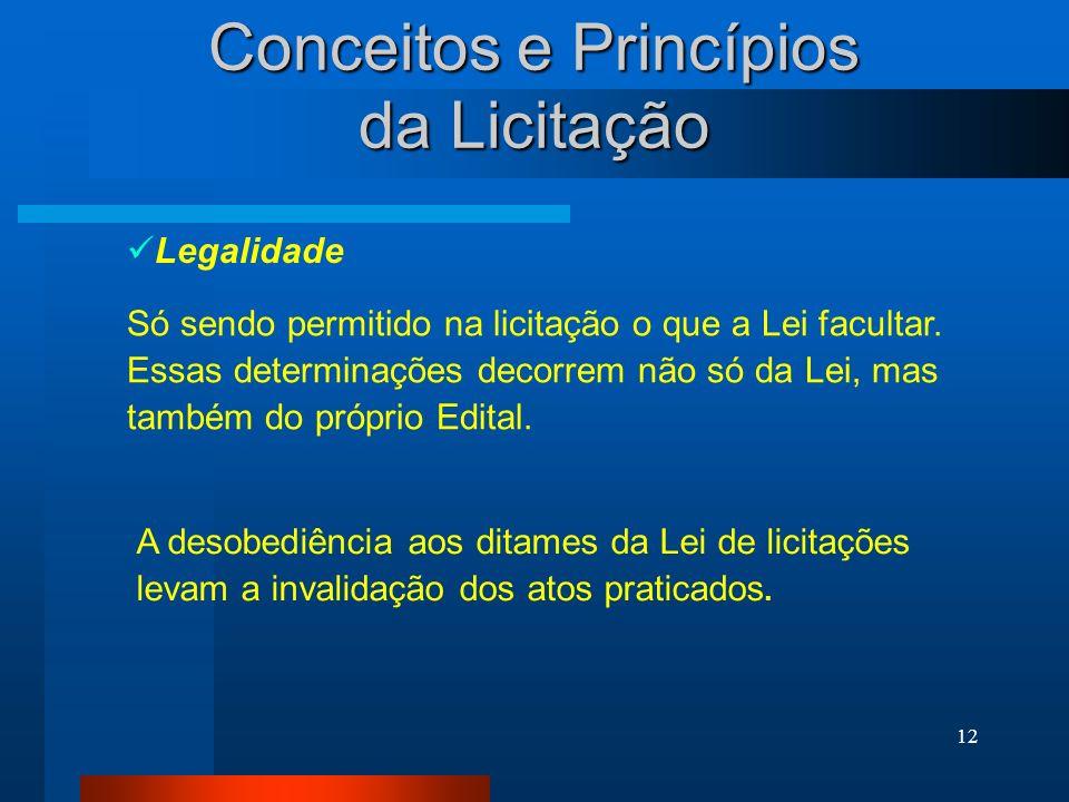 12 Só sendo permitido na licitação o que a Lei facultar. Essas determinações decorrem não só da Lei, mas também do próprio Edital. Conceitos e Princíp