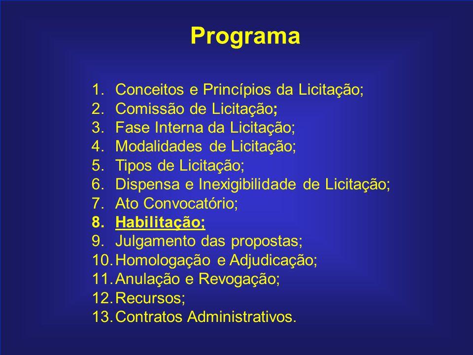124 Programa 1.Conceitos e Princípios da Licitação; 2.Comissão de Licitação; 3.Fase Interna da Licitação; 4.Modalidades de Licitação; 5.Tipos de Licit
