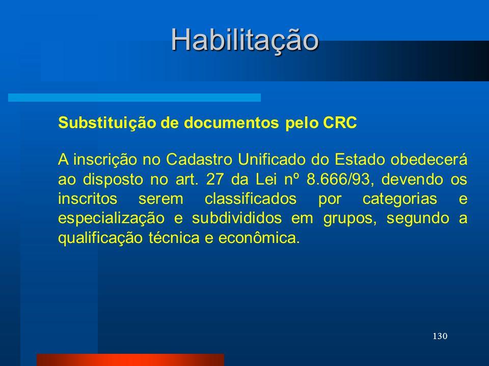 130 Habilitação A inscrição no Cadastro Unificado do Estado obedecerá ao disposto no art. 27 da Lei nº 8.666/93, devendo os inscritos serem classifica