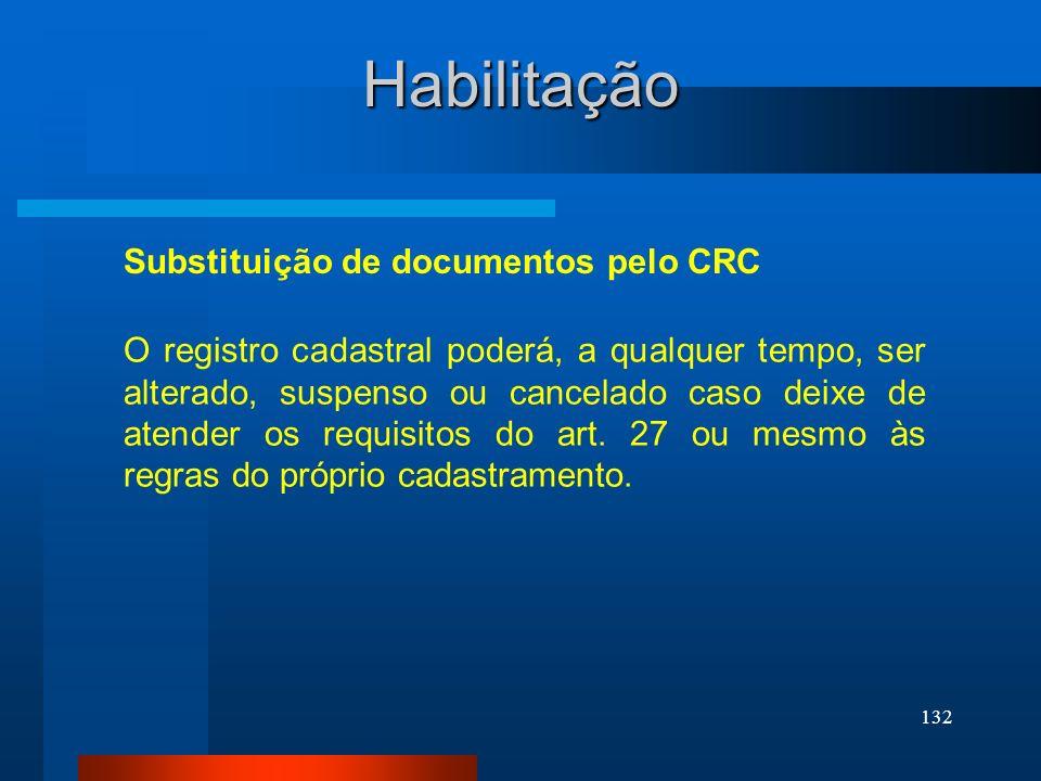 132 Habilitação Substituição de documentos pelo CRC O registro cadastral poderá, a qualquer tempo, ser alterado, suspenso ou cancelado caso deixe de a