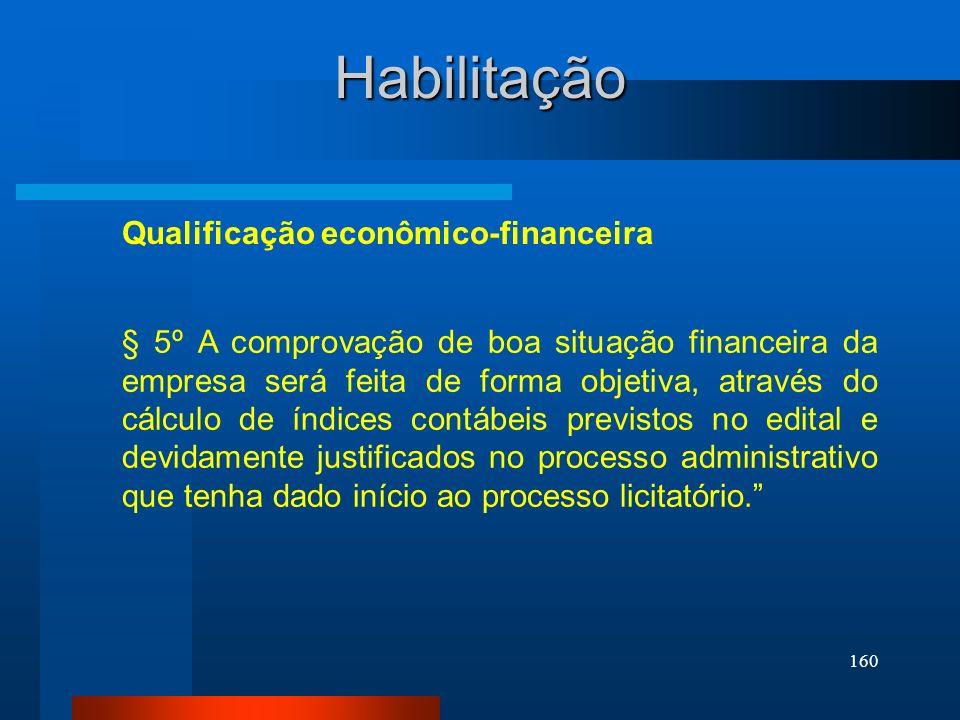 160 Habilitação Qualificação econômico-financeira § 5º A comprovação de boa situação financeira da empresa será feita de forma objetiva, através do cá