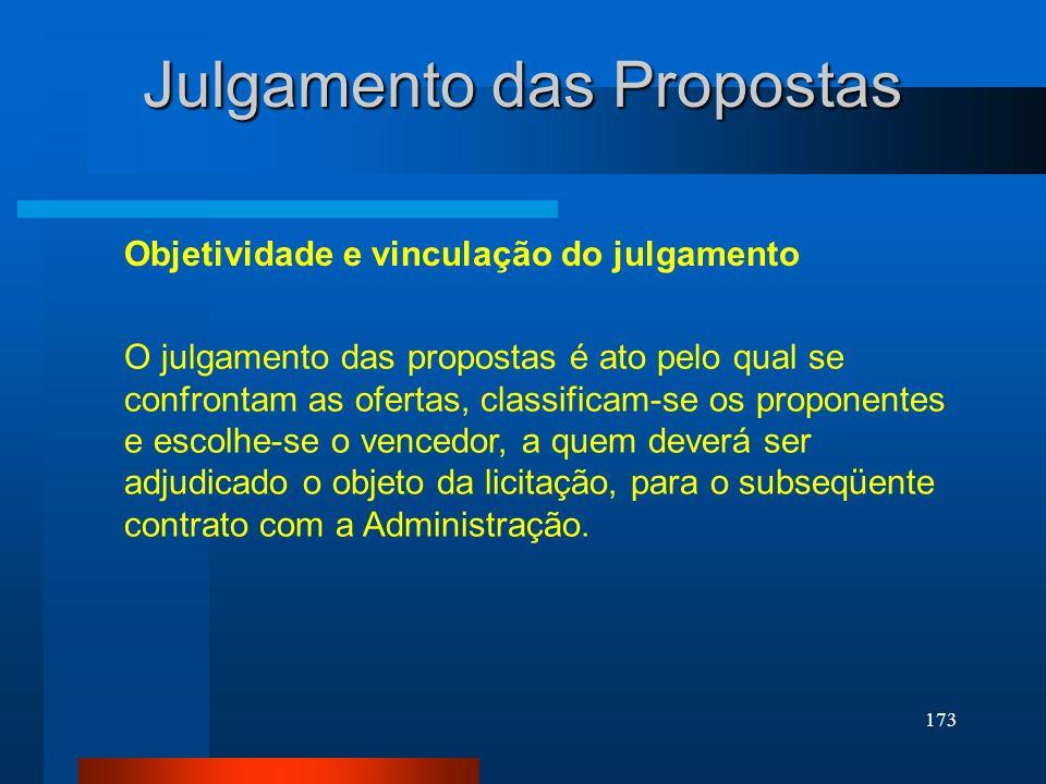 173 Julgamento das Propostas Objetividade e vinculação do julgamento O julgamento das propostas é ato pelo qual se confrontam as ofertas, classificam-