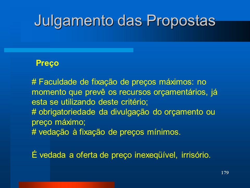 179 Julgamento das Propostas # Faculdade de fixação de preços máximos: no momento que prevê os recursos orçamentários, já esta se utilizando deste cri