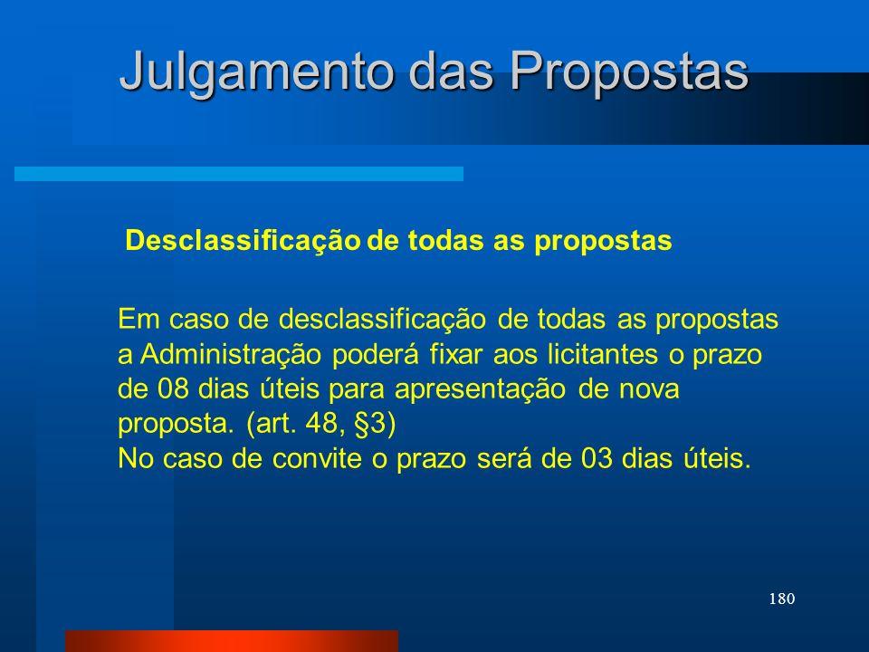 180 Julgamento das Propostas Desclassificação de todas as propostas Em caso de desclassificação de todas as propostas a Administração poderá fixar aos