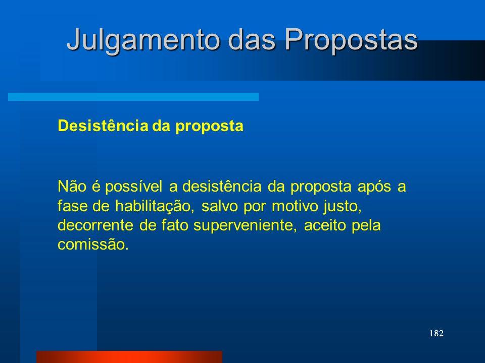 182 Julgamento das Propostas Desistência da proposta Não é possível a desistência da proposta após a fase de habilitação, salvo por motivo justo, deco