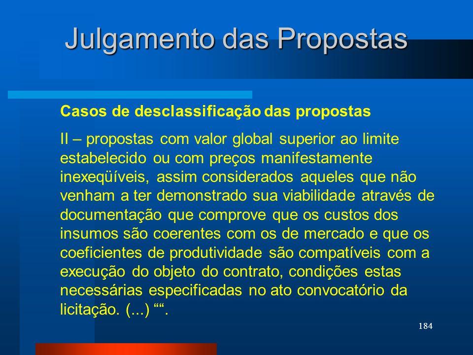 184 Julgamento das Propostas Casos de desclassificação das propostas II – propostas com valor global superior ao limite estabelecido ou com preços man