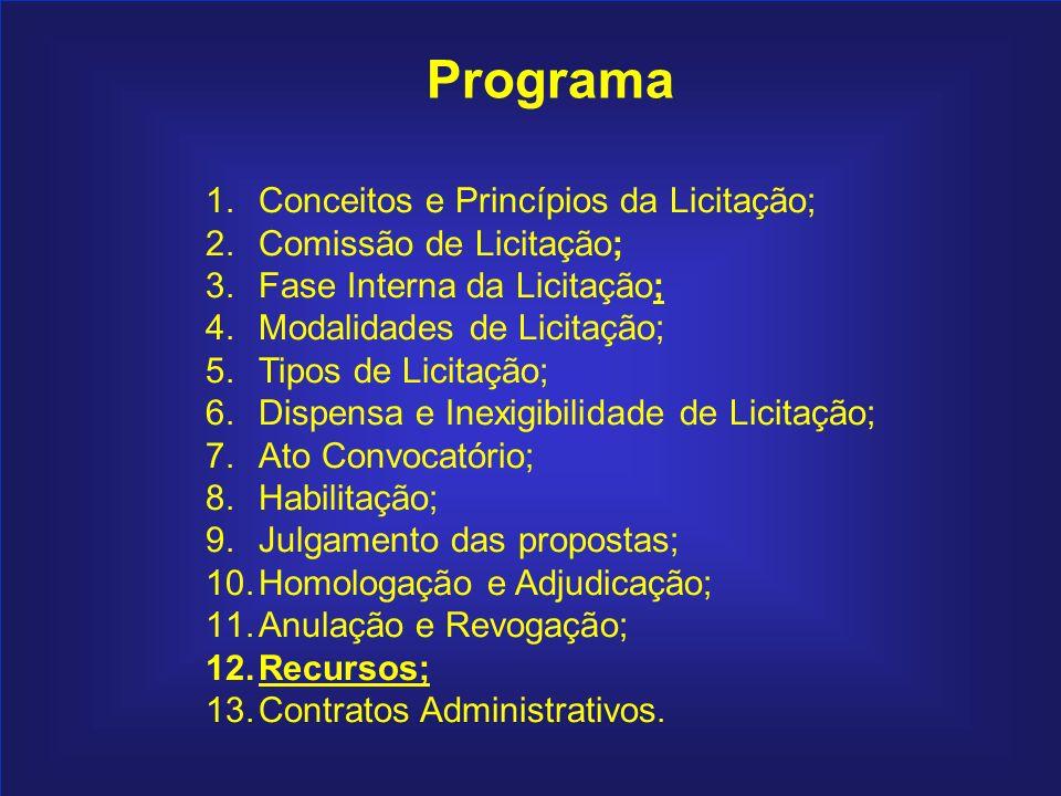 203 Programa 1.Conceitos e Princípios da Licitação; 2.Comissão de Licitação; 3.Fase Interna da Licitação; 4.Modalidades de Licitação; 5.Tipos de Licit