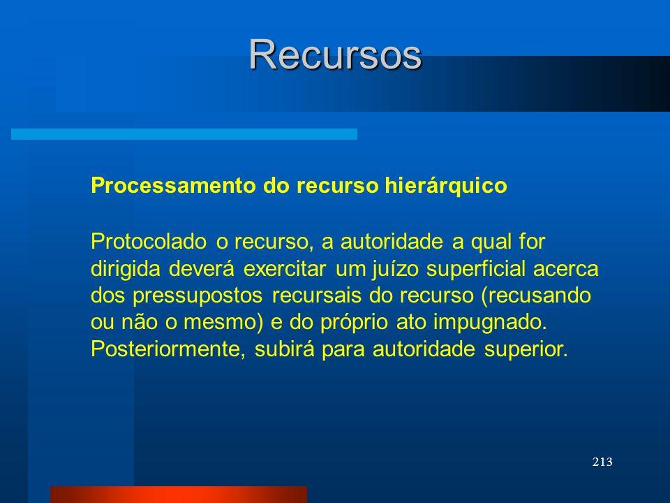 213 Recursos Processamento do recurso hierárquico Protocolado o recurso, a autoridade a qual for dirigida deverá exercitar um juízo superficial acerca