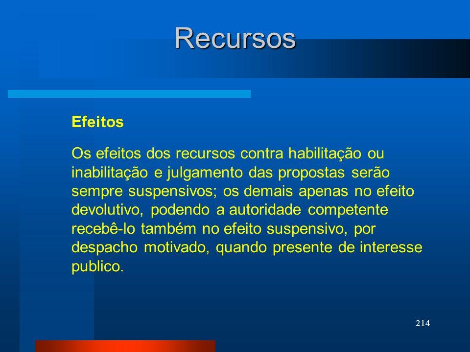 214 Recursos Efeitos Os efeitos dos recursos contra habilitação ou inabilitação e julgamento das propostas serão sempre suspensivos; os demais apenas