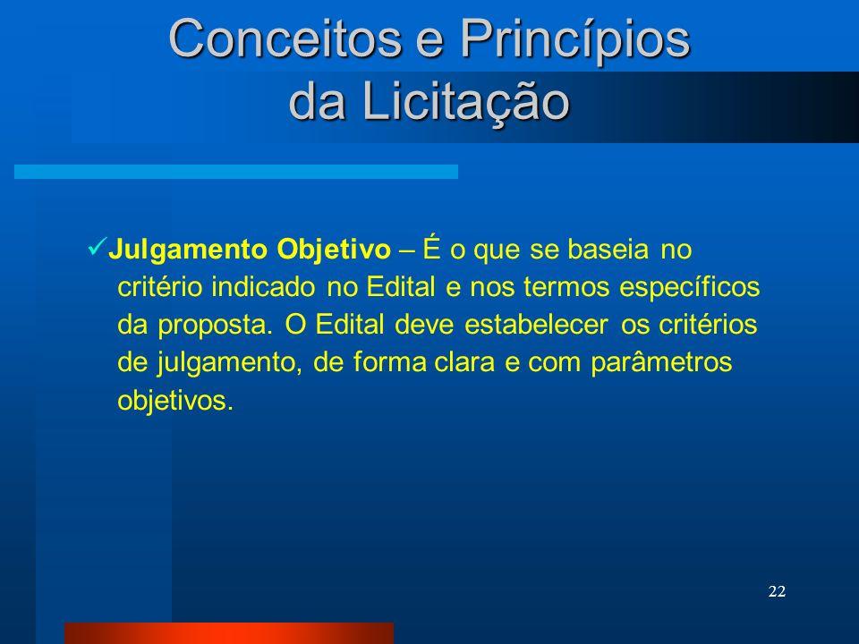 22 Conceitos e Princípios da Licitação Julgamento Objetivo – É o que se baseia no critério indicado no Edital e nos termos específicos da proposta. O