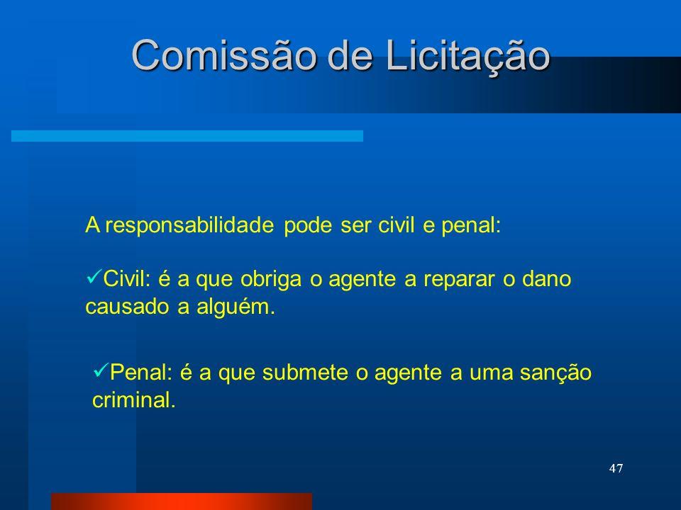 47 Comissão de Licitação A responsabilidade pode ser civil e penal: Civil: é a que obriga o agente a reparar o dano causado a alguém. Penal: é a que s