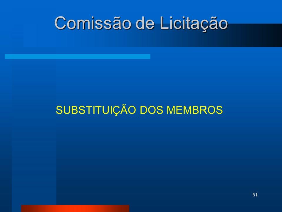 51 Comissão de Licitação SUBSTITUIÇÃO DOS MEMBROS