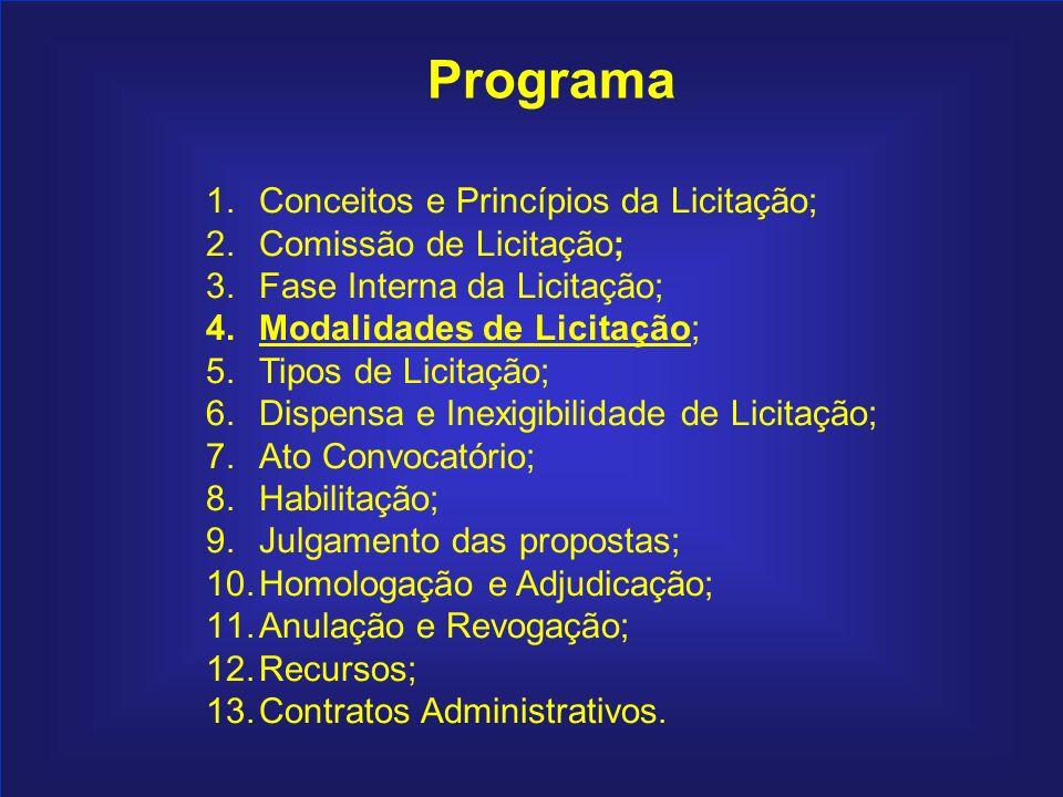57 Programa 1.Conceitos e Princípios da Licitação; 2.Comissão de Licitação; 3.Fase Interna da Licitação; 4.Modalidades de Licitação; 5.Tipos de Licita