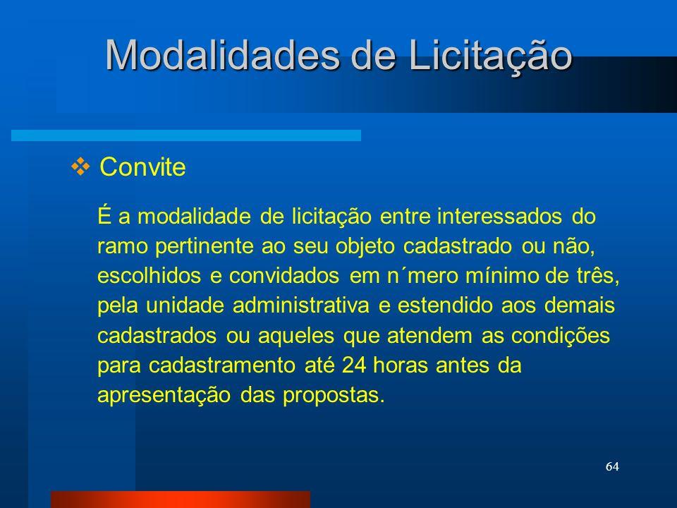 64 Convite Modalidades de Licitação É a modalidade de licitação entre interessados do ramo pertinente ao seu objeto cadastrado ou não, escolhidos e co