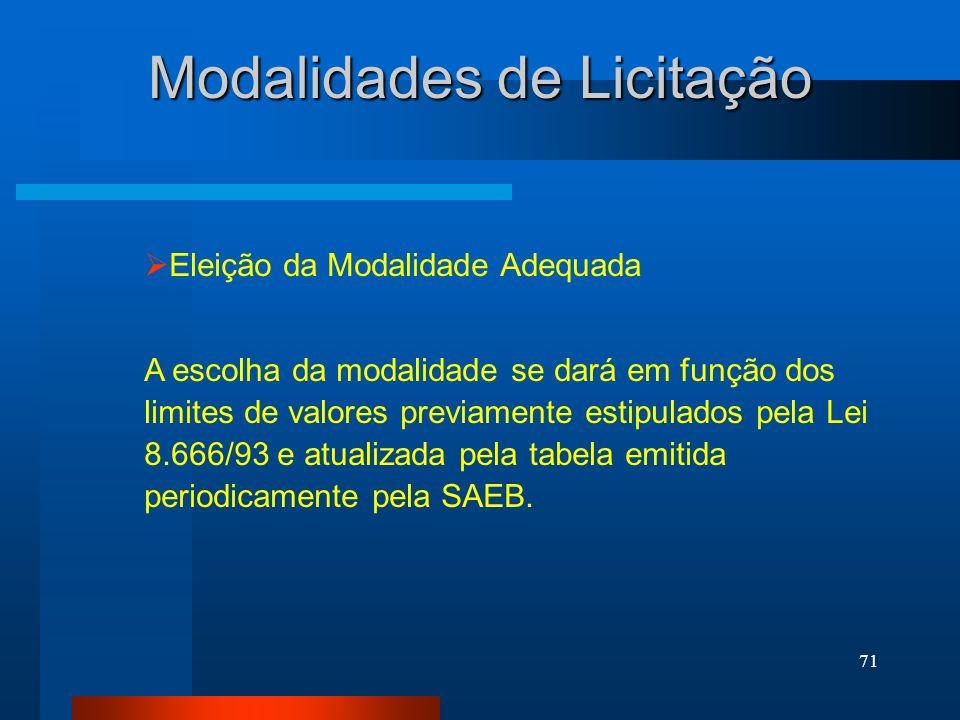 71 Modalidades de Licitação Eleição da Modalidade Adequada A escolha da modalidade se dará em função dos limites de valores previamente estipulados pe
