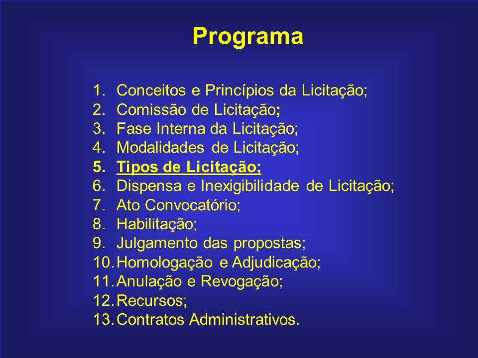 77 Programa 1.Conceitos e Princípios da Licitação; 2.Comissão de Licitação; 3.Fase Interna da Licitação; 4.Modalidades de Licitação; 5.Tipos de Licita