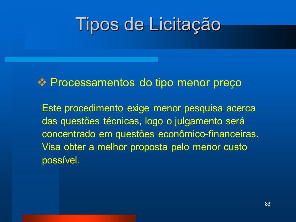 85 Tipos de Licitação Processamentos do tipo menor preço Este procedimento exige menor pesquisa acerca das questões técnicas, logo o julgamento será c