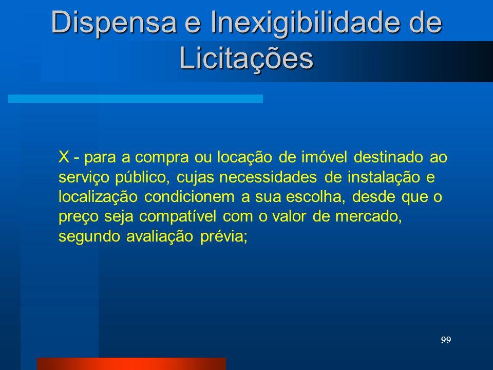 99 Dispensa e Inexigibilidade de Licitações X - para a compra ou locação de imóvel destinado ao serviço público, cujas necessidades de instalação e lo